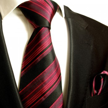 Silk Necktie Set 2pcs. Tie + Handkerchief black red 515