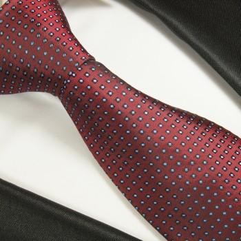 Red tie polka dots necktie - silk mens tie and pocket square and cufflinks