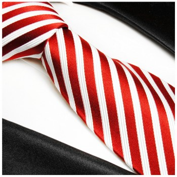 Red tie 100% silk mens tie white striped necktie 852