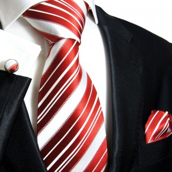 Red necktie set 3pcs + handkerchief + cufflinks 445