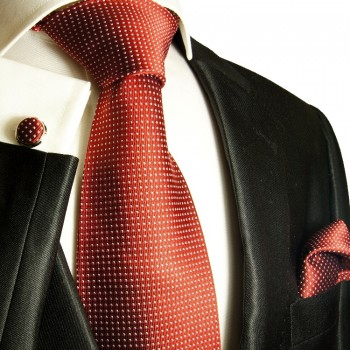 Red necktie set 3pcs + handkerchief + cufflinks 933