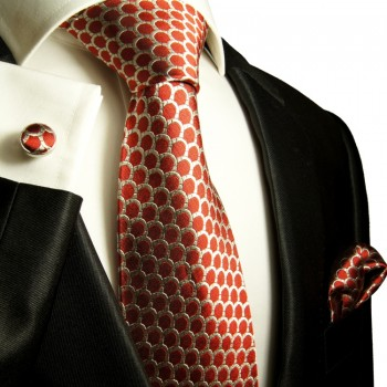 Red mens tie polka dots necktie - silk tie and pocket square and cufflinks