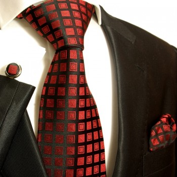 red tie checkered necktie - silk mens tie and pocket square and cufflinks