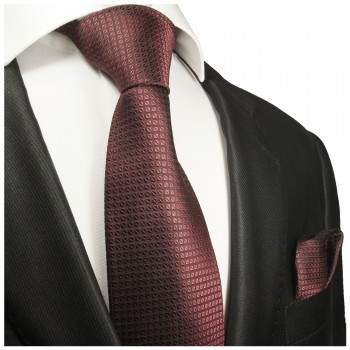 Silk Necktie Set 2pcs. Tie + Handkerchief red 2029