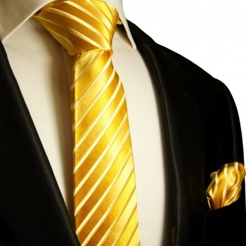 Paul Malone Skinny Silk Tie with Pocket Square gold necktie 8s
