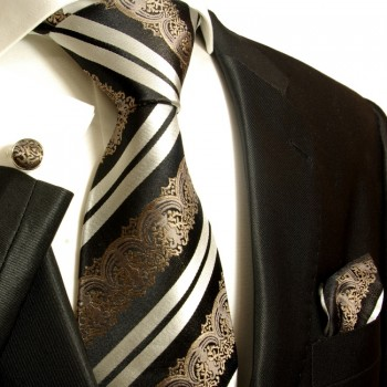 Black barock necktie set 3pcs + handkerchief + cufflinks 516