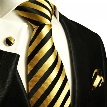 Black gold necktie set 3pcs + handkerchief + cufflinks 830