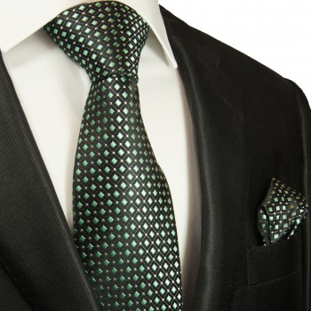 Silk Necktie Set 2pcs. mens tie and pocket square black green 2047