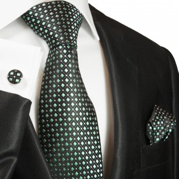 Green tie polka dots necktie - silk mens tie and pocket square and cufflinks