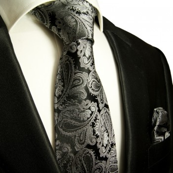 Black Silber Silk Necktie Set 2pcs. Tie + Handkerchief 627