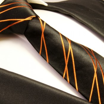 Black orange tie 100% silk mens tie striped necktie 359