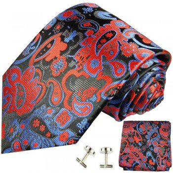 black red mens tie paisley necktie - silk tie and pocket square and cufflinks