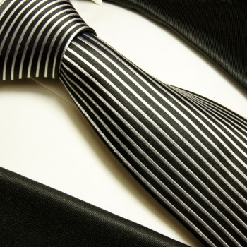 Black tie 100% silk mens tie silver striped necktie 408