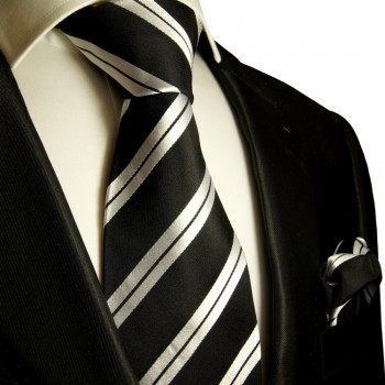 Black silver necktie set 2pcs 100% silk tie + handkerchief 279