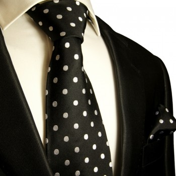 Black silver dots necktie set 2pcs 100% silk tie + handkerchief 976