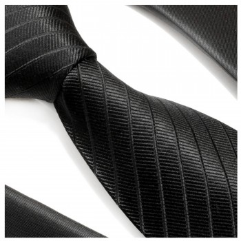 Black tie 100% silk mens tie solid striped necktie 475