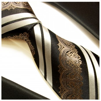 Black tie 100% silk mens tie baroque striped necktie 516