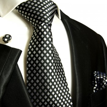 Black necktie set 3pcs + handkerchief + cufflinks 305