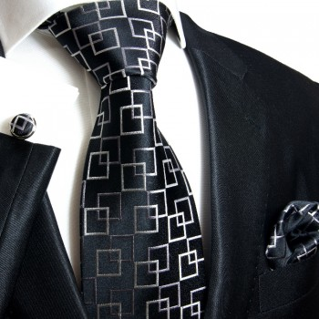 Blak necktie set 3pcs + handkerchief + cufflinks 641