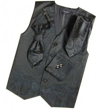 black waistcoat paisley for wedding with necktie ascot tie pocket square and cufflinks v2
