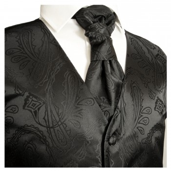 Black paisley wedding tuxedo vest with ascot tie v2