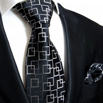 Black necktie set 2pcs 100% silk tie + handkerchief 641