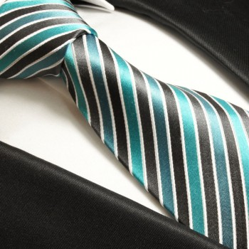 turquoise gray mens tie striped necktie - silk tie and pocket square and cufflinks