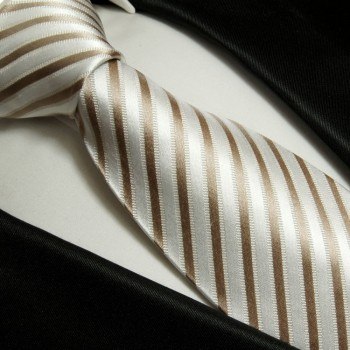 cappuccino mens tie striped necktie - silk tie and pocket square and cufflinks