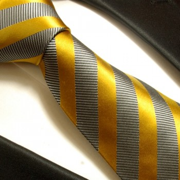 gold gray mens tie striped necktie - silk tie and pocket square and cufflinks