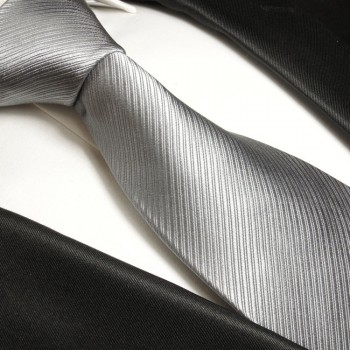Silver gray tie solid necktie - silk mens tie and pocket square and cufflinks