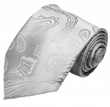 Silver tie for wedding paisley pattern v3