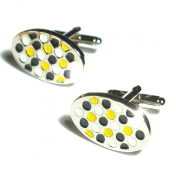 Silver white yellow cufflinks from Paul Malone Ma17