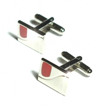 Silver red cufflinks by Paul Malone Ma19
