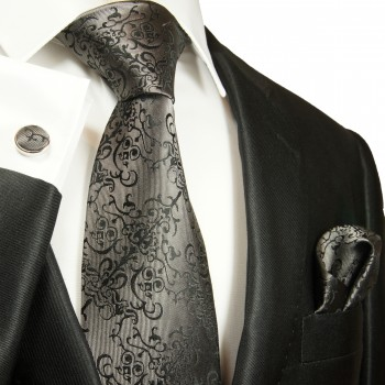 Silver black necktie set 3pcs + handkerchief + cufflinks 2051