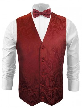 Wedding waistcoat - vest with bow tie maroon red paisley