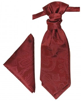 Burgundy red cravat paisley | Ascot tie and pocket square | Wedding plastron PH1