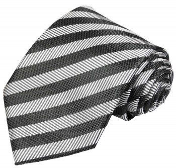 Paul Malone mens tie silver gray black necktie striped v10