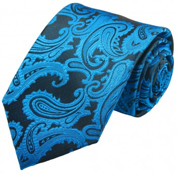 Petrol blue paisley necktie groom wedding mens tie v100