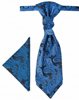 Petrol blue cravat paisley | Ascot tie and pocket square | Wedding plastron PH100