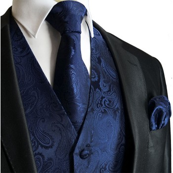 Dark blue paisley tuxedo wedding vest with necktie and pocket square