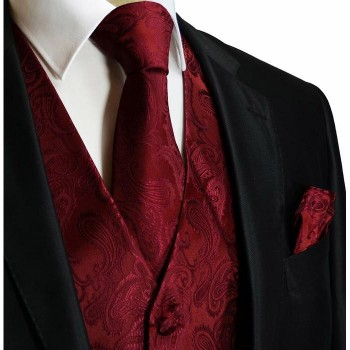 Burgundy red paisley tuxedo wedding vest with necktie and pocket square