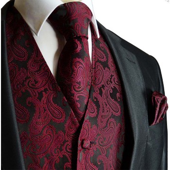 Maroon red paisley tuxedo wedding vest with necktie and pocket square