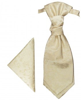 Champagne cravat | Ascot tie and pocket square | Wedding plastron PH18