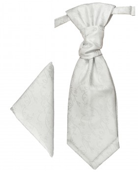 Silver white cravat | Ascot tie and pocket square | Wedding plastron PH20