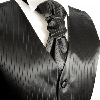 Black wedding mens vest solid pattern v21