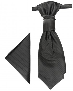 Black cravat | Ascot tie and pocket square | Wedding plastron PH21