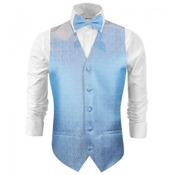Wedding vest with bow tie light blue floral