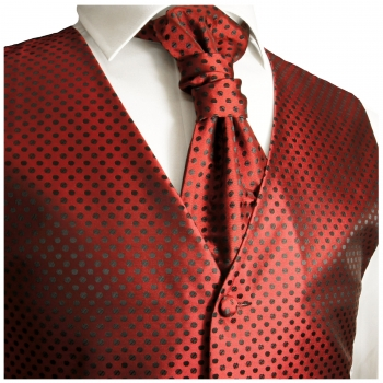 WEDDING VEST SET red black and Shirt Slim Fit white V22HL81