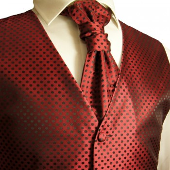 red black waistcoat for wedding with necktie ascot tie pocket square and cufflinks polka dots v22