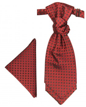 Red black cravat polka dots | Ascot tie and pocket square | Wedding plastron PH22